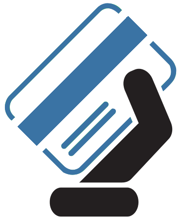 Blue credit card icon in hand. FEDCorp offers a variety of ATM machine services.